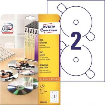 Samolepicí etikety na CD/DVD Avery SuperSize - průměr 117 mm, 40 ks