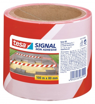 Bariérová páska Tesa - výstražná, nelepicí, červená/bílá