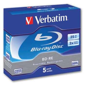 Disky Blu-Ray BD-RE Verbatim - přepisovatelné, standard box, 5 ks