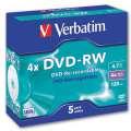 Disky DVD-RW Verbatim - přepisovatelné, standard box, 5 ks