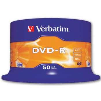 Disky DVD-R Verbatim - cake box, 50 ks