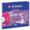 Disky DVD+R Verbatim - barevné, slim box, 5 ks