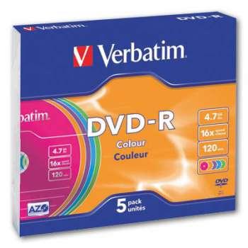 Disky DVD-R Verbatim - barevné, slim box, 5 ks