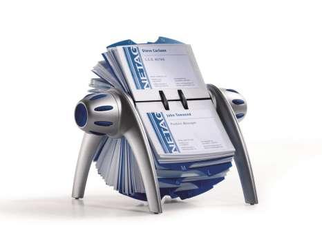 Vizitkář otočný Durable Visifix s pouzdry, stříbrný/modrý
