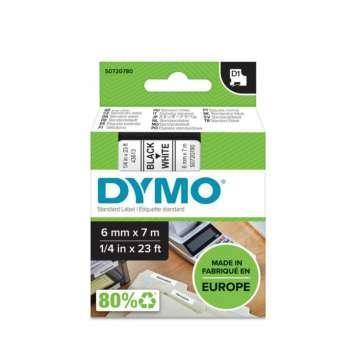 Páska Dymo D1 šířka 6 mm/návin 7m, černá / bílá