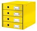 Zásuvkový box Leitz Click&Store WOW - 4 zásuvky, žlutá