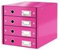 Zásuvkový box Leitz Click&Store WOW WOW - 4 zásuvky, růžová