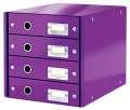 Zásuvkový box Leitz Click&Store WOW WOW - 4 zásuvky, purpurová