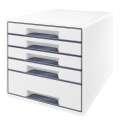 Zásuvkový box LEITZ WOW WOW - A4+,plastový, bílý se šedými prvky