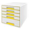 Zásuvkový box LEITZ WOW WOW - A4+,plastový, bílý se žlutými prvky