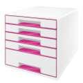 Zásuvkový box LEITZ WOW WOW - A4+,plastový, bílý s růžovými prvky