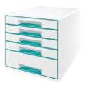 Zásuvkový box LEITZ WOW WOW - A4+, plastový, bílý  s ledově modrými prvky