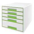 Zásuvkový box LEITZ WOW WOW - A4+, plastový, bílý  se zelenými prvky