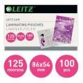 Laminovací kapsy Leitz - 54x86mm, 125 mic, čiré, 100 ks