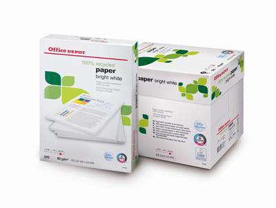 Recyklovaný papír Office Depot BRIGHT WHITE -zářivě bílá, A4, 80g/m2, 500 listů