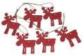 Závěsná dekorace sobíci červení - 6 cm, 6 ks