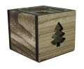 Svícen stromek - dřevo-sklo, 10x10 cm