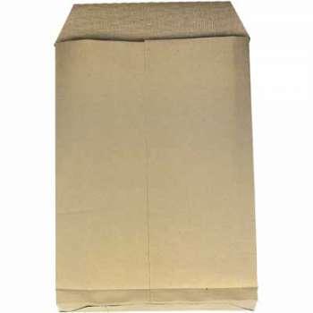 Obchodní taška s křížovým dnem a textilní výztuží - B4, hnědé, s krycí páskou, 10 ks