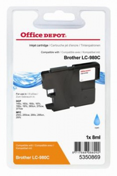Cartridge Office Depot Brother  LC980C - azurová