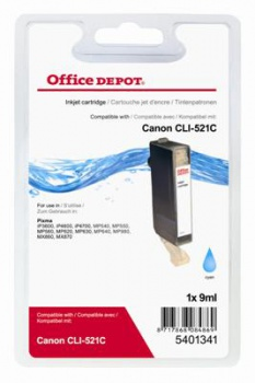 Cartridge Office Depot Canon CLI-521 C - azurová