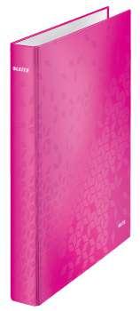 Čtyřkroužkový pořadač Leitz WOW 25 mm, růžová