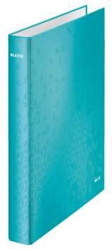 Čtyřkroužkový pořadač LEITZ WOW - A4, laminovaný karton, hřbet 4,0 cm, ledově modrý