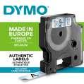 Páska Dymo D1 šířka 12 mm/návin 7m, černá / průhledná