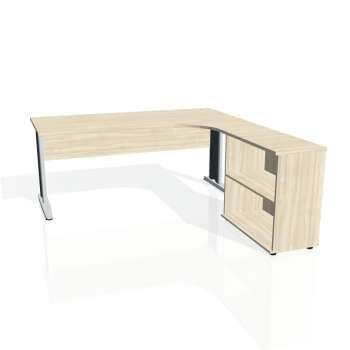 Psací stůl Hobis CROSS CE 1800 H levý, akát/kov