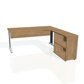 Psací stůl Hobis CROSS CE 1800 H levý, višeň/kov