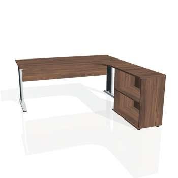 Psací stůl Hobis CROSS CE 1800 H levý, ořech/kov