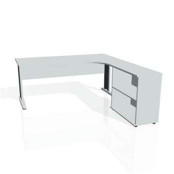 Psací stůl Hobis CROSS CE 1800 H levý, šedá/kov