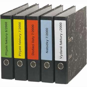 Samolepicí etikety na pořadače SK Label - bílé, 191 x 39 mm, 700 ks