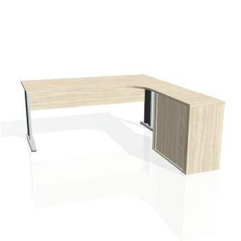 Psací stůl Hobis CROSS CE 1800 HR levý, akát/kov