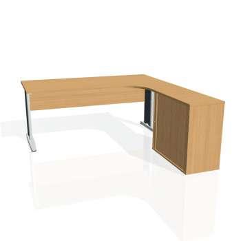 Psací stůl Hobis CROSS CE 1800 HR levý, buk/kov