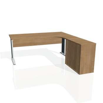 Psací stůl Hobis CROSS CE 1800 HR levý, višeň/kov