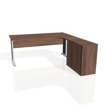 Psací stůl Hobis CROSS CE 1800 HR levý, ořech/kov