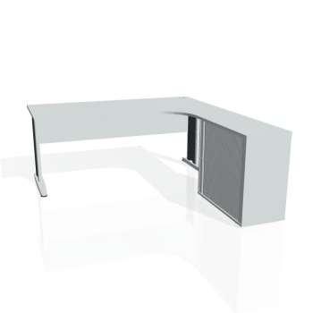 Psací stůl Hobis CROSS CE 1800 HR levý, šedá/kov