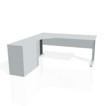 Psací stůl Hobis CROSS CE 1800 HR pravý, šedá/kov