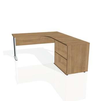 Psací stůl Hobis CROSS CE 60 H levý, višeň/kov