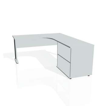 Psací stůl Hobis CROSS CE 60 H levý, šedá/kov