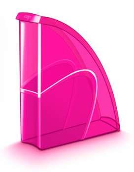 Stojan na časopisy CepPro Happy - plastový, transparentní, růžová