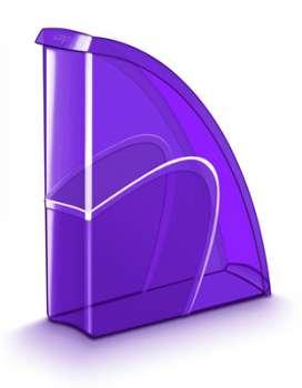 Stojan na časopisy CepPro Happy - plastový, transparentní, fialová