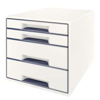 Zásuvkový box LEITZ WOW - A4+, plastový, bílý s šedými prvky