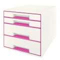 Zásuvkový box LEITZ WOW - A4+, plastový, bílá  s růžová mi prvky