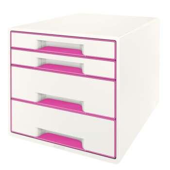 Zásuvkový box LEITZ WOW - A4+, plastový, bílý s růžovými prvky