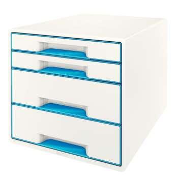 Zásuvkový box LEITZ WOW - A4+, plastový, bílý s modrými prvky