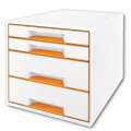 Zásuvkový box LEITZ WOW - A4+, plastový, bílý s oranžovými prvky