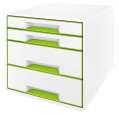 Zásuvkový box LEITZ WOW - A4+, plastový, bílý se zelenými prvky