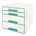 Zásuvkový box LEITZ WOW - A4+, plastový, bílá  s ledově modrámi prvky