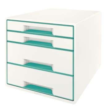 Zásuvkový box LEITZ WOW - A4+, plastový, bílý s ledově modrými prvky